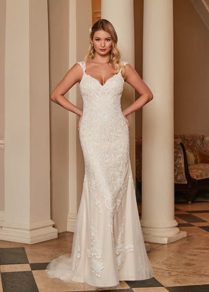 Cory by Romantica, Fishtail Lace Wedding Dress available from Caroline Clark Bridal Boutique, Droitwich