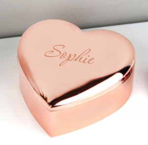 rose gold heart trinket box
